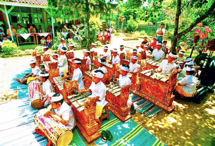 Children's Gamelan Orchestra at Peliatan, Bali