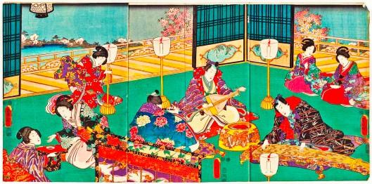 Biwa & Koto by Utagawa Kunisada, 1848